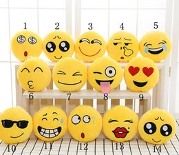 Wholesale Cool Style Child - Wholesale-12 Styles Hot new Soft Cute Emoji Smiley Emoticon Yellow Round Cushion home Pillow Stuffed
