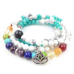 SN0183 New Design 108 Mala Beads Fashion Yoga Bracelet Aquamarine Chakra Lotus Charm Necklaces Free Shipping