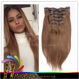 Extensión del pelo humano clip de la cabeza llena en venta-precio de fábrica barato del clip pelo brasileño de Remy en el cabello humano Extensión total de 120 g 7 Piezas Lote (100g 20g clips de pelo) Cabeza completa