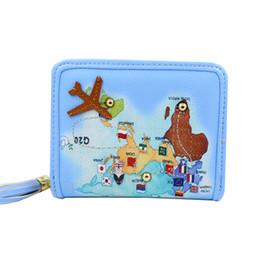 Wholesale Rivet world map women wallet small airplane tassel women purse cute coin purse brand pu leather purse female card holder