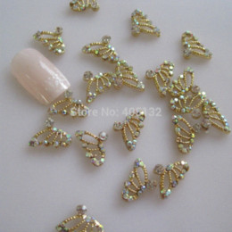 MD-746 3D 50pcs bag Crystal AB Rhinestone Gold Butterfly Nail Decoration Metal Shinny Deco Metal Nail Art Decoration