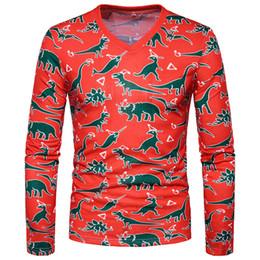 Free Shipping US Size S-2XL Men's T-shirt 3D animal pattern Long Sleeve Print V-neck casual party T-shirt Men's clothing shirt custom