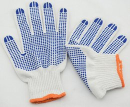 Two Sides PVC Dotted String Knitted Glove Natural Cotton PVC Protective Hand Safety Glove Anti Slip Wear Resistant PVC Glove