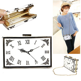 Time clock bag evening bags pu metal frame handbags digital number fashion watch banquet purse for party - GY39