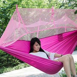 Wholesale Hammock Mosquito Netting Single Person Outdoor Portable Camp Furniture Parachute Nylon Fabric Gear Eno Hiking Equipment Tent Kit Sale Cheap