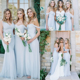 New Boho Summer Light Blue Bridesmaid Dresses V-neck Off Shoulders Ruched Cheap Beach A-line Mermaid Backless Maid of the Honor Dresses