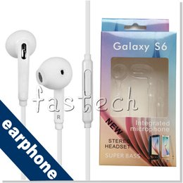 Wholesale S6 Earphone S6 Edge Earphones Headphone Earbuds Jack with Microphone and Volume Control for Samsung Galaxy S6 S5 S4 Black White Color