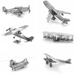 Wholesale 3D Metal Puzzle Fighter Aircraft Model For Adult Air Force Equipment Helicopter Airplane Building Model DIY Kids Toys Gifts