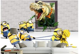 Wholesale 3d wallpaper custom photo non woven mural Minions dinosaur frame for kids room decoration painting picture d wall room murals wallpaper