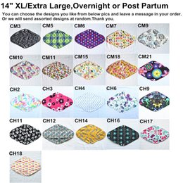 Wholesale U PICK Overnight Post partum quot Reusable Washable Charcoal Bamboo Cloth Pads Menstrual Sanitary Mama Pads Extra Large XL Choices