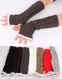 New Women Lady winter lace knitted fingerless gloves knitting mitten crochet hand wrist warmer gloves half-fingers gloves B939