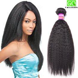 Wholesale 8A Brazilian Virgin Hair Kinky Straight Bundles Human Hair Extension Brazillian Yaki Straight Hair Brazilian Virgin Hair Coarse Yaki