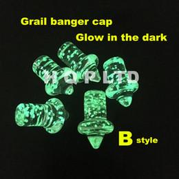Wholesale Quartz nail Grail banger Nails carb cap glass dab nail carb cap Flat top domeless nails enail banger cap glow in dark cap