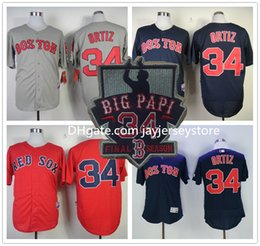 Wholesale David Ortiz Jersey Flexbase retired Patch Big Papi Final season White Grey Red Cool Base Drop Shipping Available