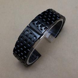 Compra Online Alto acero inoxidable pulido-La alta calidad pulió la venda de los relojes de manera de la correa de la mariposa de la correa de las pulseras del oro 20MM del negro del acero inoxidable de la venda de reloj caliente