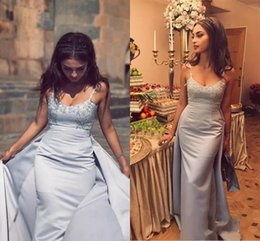 Silver Sexy Spaghetti Straps Long Prom Dresses 2017 Lace Appliques Backless A Line Satin Formal Evening Gowns Cheap Pageant Wear