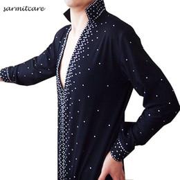D100 - 5 Colors Male Rhinestones Sleeve Latin Dance Shirt for Men Samba Dance Costumes Tango Samba Costume Dance Clothes Latin Shirts