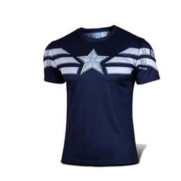 Wholesale NEW Marvel Captain America batman superman Super Hero sport d T shirt T shirts Men fitness clothing short sleeves S XXXXL BY DHL