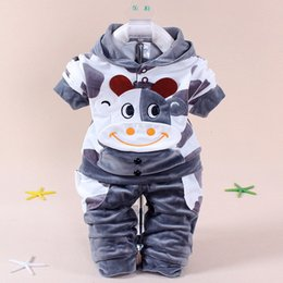 Wholesale Spring children s suits girls sports suit fashion leisure velvet infant baby cows KT Cat Rabbit piece fitted