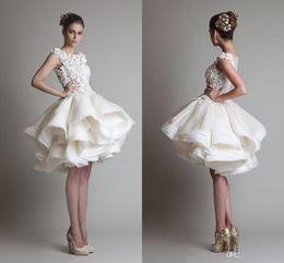 Krikor Jabotian Gorgeous Wedding Dresses 2017 New Scoop A Line Beach Bridal Gowns Knee Length Short Cheap Organza Appliqued Bride Gowns