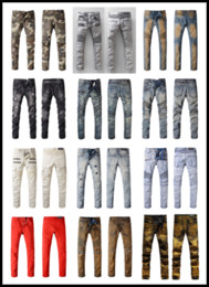 Wholesale Original Brand France Fashion Pierre Balmain Jeans Men s Balmain Biker Jeans Hole Ripped Stretch Denim Balmai Casual Jean Men Skinny Pants