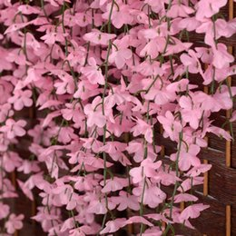 Free Shipping Artificial Pink Cherry Blossom Flower Vine Plant Home Decorative Silk Flowers For Wedding Birthday Party Decoration Supplies
