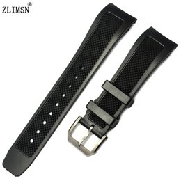 Black Diver Silicone Rubber Watch Bands ZLIMSN 22mm Strap Include deployment clasp FOR IWCWATCH Strap Buckle