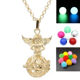 Gold Angel Wing Ball Locket Pendant Wish Box Locket For Essential Oil Diffuser Aromatherapy Perfume Necklace Making