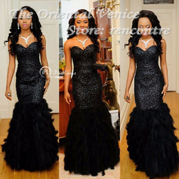 Wholesale Luxury Black Sequined Beaded Feather Prom Dresses Mermaid Evening Gowns Long African Style Sweetheart Black Girl Dress Robe longue soiree