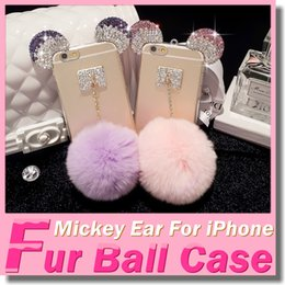 Wholesale Iphone6 s Plus Mickey Mouse Ears Rhinestone Cases iphone s Diamond Skin Glitter DIY Bling Cover With Rabbit Fur Ball Pendant