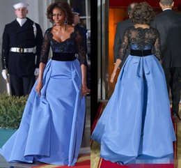 Wholesale 2016 Fashion Michelle Obama Dinner Evening Dresses Lace with Beads Long Sleeve Ball Gown Prom Dresses Formal Red Carpet Celebrity Gowns
