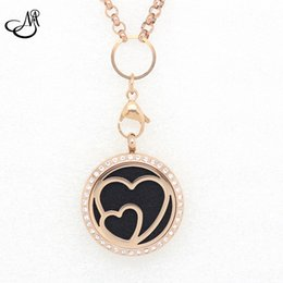 Wholesale 10pcs Rose Gold Sweet Heart mm mm Stainless Steel Essential Oils Aromatherapy Locket Perfume Diffuser Necklace MIJ230