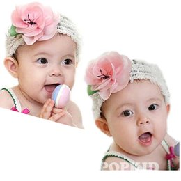 Wholesale baby headbands latest pink kids best loved lace big rose flowers hair accessories very delicate new products Big Promotion
