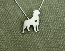 10PCS- N100 Cute Rottweiler Silhouette Necklace Love My Dog Necklace with Heart Outline Pet Pup Pug Puppy Necklaces for Animal