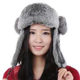 Hombre trapper en venta-invierno cálido sombrero Calmante Leifeng nuevos hombres y de conejo de piel real sombreros holgados de las mujeres / los casquillos unisex Bombardero Rusia Trapper sombrero