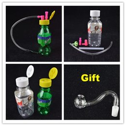 Wholesale Stoned Mini Oil Rig Beverage Cans Water Bongs Portable Smoking Bongs with mm joint Inch Mineral Water Bottles Hookahs plastic Bubbler