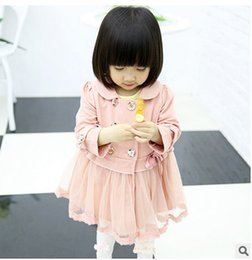 Wholesale Autumn BABY children crochet lace coat girls doll collar tulle coat kids double breasted ruffle long outwear BABY child princess coat T0218