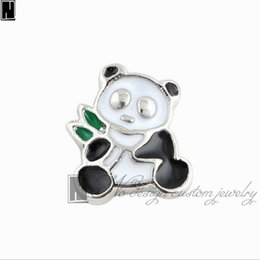 Wholesale No Design Custom jewelry charms New Alloy silver enamel Pandas eat bamboo floating locket charms for living memory lockets
