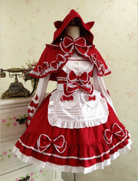 Wholesale Capes Costume Red Riding Hood - (LLT007) Little red riding hood cape maid Lolita dress bud silk condole belt dress restoring ancient ways