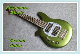 Wholesale Bongo Music Man Strings Bass Erine Ball StingRay Metallic Green Electric Guitar V Battery Active Pickups MOP Pickguard Chrome Hardware