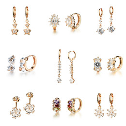 Wholesale Mixed order New products listed Champagne gold With drill earrings women s jewelry