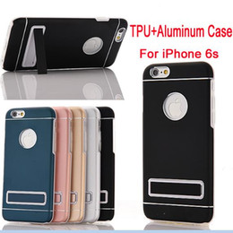 For iPhone 6 case TPU Bumper Aluminum Metal Case Cover For iPhone 6s Plus PC Holder Metal Back Case For iPhone 6 DHL SCA148