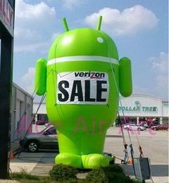 Wholesale green standing inflatable Android cartoon for mobile phone advertising with logo