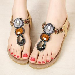 Wholesale Beading flat summer sandals comfortable European and American style ethnic bohemian style hand beaded sandals for weman