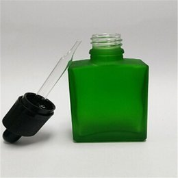 Hot selling 30ml Empty bottle Frosted green Glass tube dropper bottle Flat square Perfume bottle with Childproof cap free shipping
