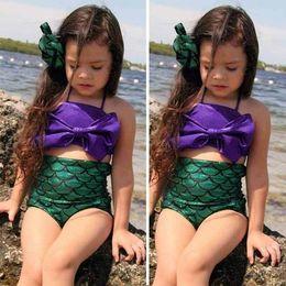 Wholesale Cute Children Kids Mermaid COSPLAY Halter Bikini Swimwear For Girls With High Waist Fish Scale Bottom Bathing Toddler Bow Swimsuit