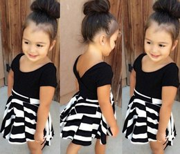 Wholesale 2016 New Cute Girls Outfit Korean Best Sale Childrens Suits Girls Kids Summer Printing Barbie Short Shirts Skirts Sets Baby Two Piecess Sets