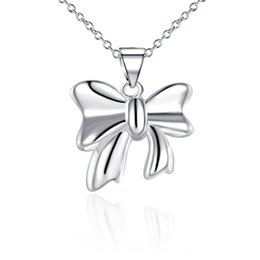 Free shipping women's Smooth butterfly knot pendant necklace sterling silver plated necklace STSN619,hot sale fashion 925 silver necklace