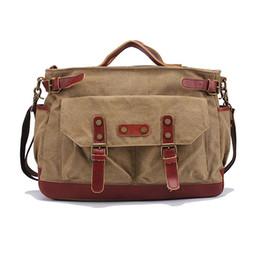 Wholesale Classic Antique Style Canvas Leather Messenger Bag for Men Women Heavy Duty Satchels Top Quality Vintage Shoulder Briefcase
