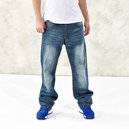 Wholesale-Mens Hip Hop Baggy Jeans Fashion Loose Fit Harem Denim Pants Distressed Skateboard Denim pants B1167